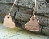 Tiny Hammered Copper Earrings