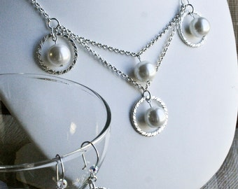Romantic Sterling Silver and Pearl Necklace and Earring Set