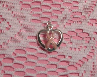 Pink Breast Cancer Awareness Heart Charm-SALE