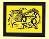 ORIGINAL Freehand Pen and Ink abstract DRAWING - Unique OOAK - Approx. 5x7 - Space Frog
