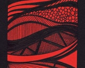ORIGINAL - ACEO - ATC - Art Trading Card - Freehand Pen and Ink abstract Drawing - Red-3