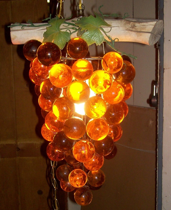 Vintage Lucite Amber Grape Cluster Swag Ceiling Lamp