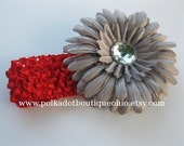 OHIO STATE Lil' BUCKEYE Scarlet Headband with Gray Bling Flower