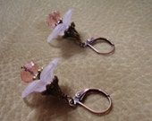 Pink Acrylic Rose of Sharon Pierced Earrings with Copper/Brass Findings