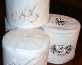 LINEN Tissue Roll Cover - with Embroidered Lettering - CUSTOM ORDER