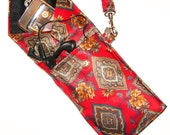 Red Elegance Recycled Men's Necktie  Wristlet Pouch - iPhone - Blackberry  Droid  Samsung Sidekick  iTouch  iPod   MP3 or Compact Camera Case