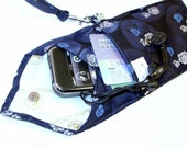 Shades of  Blue Tapestry Roses  Men's Necktie  Wristlet Pouch - for Smart Phones  iPhones - Blackberry Droid Palm  iTouch  iPod's   MP3's  or Compact Camera Case