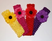 SALE - Lot of Four 2 inch Daisy hair clips with matching headbands - Pink, red, purple and yellow - buy a tutu and get any hair accessory half off