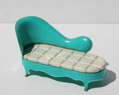 Vintage Mid Century Modern 1950's  Dollhouse Furniture Turquoise Chase Lounge Marx Toys