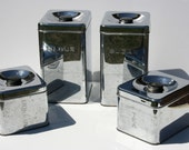 Vintage Mid Century Modern Lincoln Beautyware Beauty Ware Chrome Metal Canisters