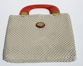 Vintage Whiting and Davis Mesh Metal Purse with Lucite Tortoiseshell Handle
