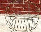Vintage Mid Century Modern Atomic Style Gold Metal Magazine Rack Holder Fire Wood Stand