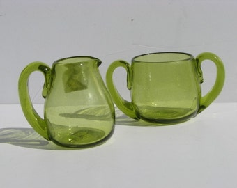 Vintage Hand Blown Green Glass Miniature Pitcher and Cup