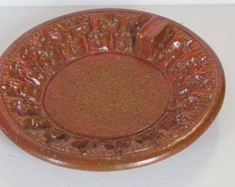 Vintage Mid Century Modern Italian Pottery Orange Ashtray Dish