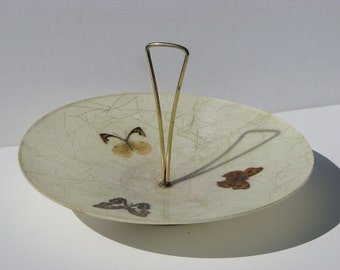 Vintage Mid Century Modern 1950 FiberGlass Butterfly Serving Dish Cookie Tray