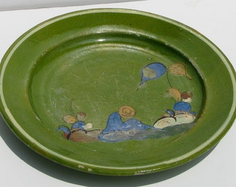 Vintage Tlaquepaque Mexico Mexican Pottery Green Plate Charger 1940's Senor Taking Siesta