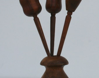 Vintage Danish Modern Mid Century Modern Wooden Salt and Pepper Shaker with Toothpick Holder