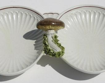 Vintage Mid Century Modern Italian Italy Pottery Signed Mushroom Divided Dish Tray