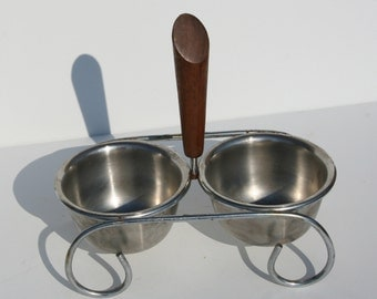 Vintage Danish Modern Eames Era Condiment Dish and Holder Dip Bowls