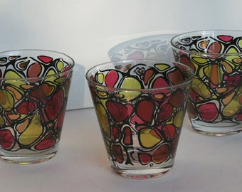 Set of 3 Mid Century Modern Low Ball Glasses Red Yellow Gold Stained Glass Pattern
