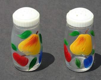 Vintage Mid Century Modern Hand Painted Fruit Pattern Salt and Pepper Shakers