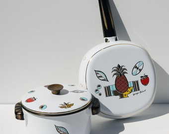 Vintage George Briard Enamelware Pan and Small Lidded Pot with Fruit Decor