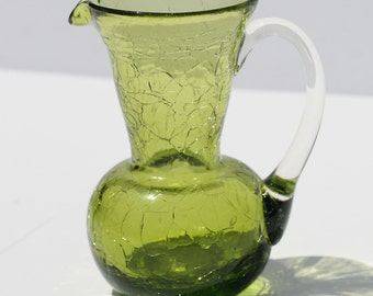 Vintage Mid Century Hand Blown Green Crackle Glass Mini Pitcher Vase
