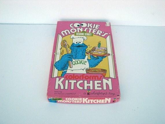 Vintage 1974 Sesame Street Cookie Monster's Kitchen Colorforms Set No. 594