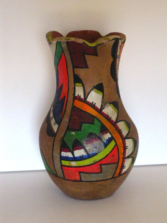 Vintage Mexican Mexico Art Pottery Vase Bright Colors by ...