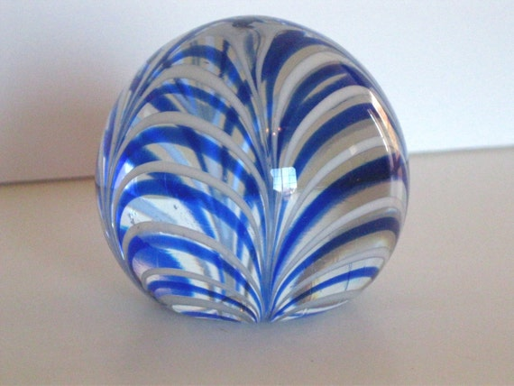 Vintage Art Glass BLue Swirled Paperweight Marked MMA