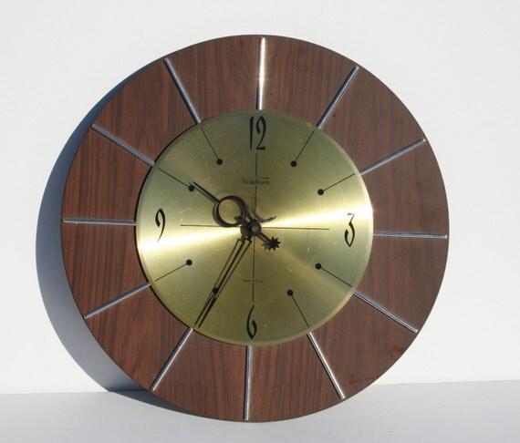 vintage mid century modern verichron wall clock by modnique
