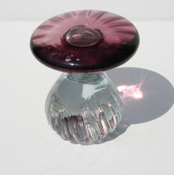 Vintage Arte Murano Icet Art Glass Mushroom Paperweight Clear and Purple
