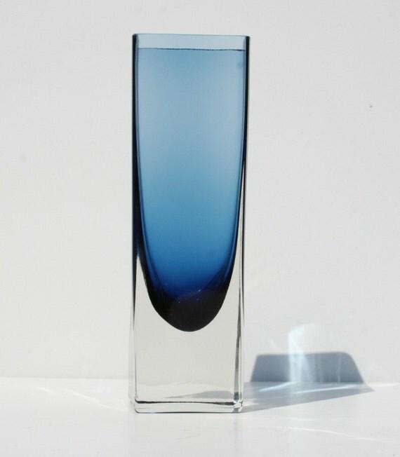 Vintage Mid Century Modern Italian Murano Art Glass Sommerso Blue Cased Glass Vase