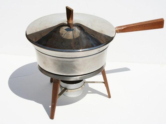 Vintage Danish Modern Eames Era Chrome and Wood Chafing Warmer Dish
