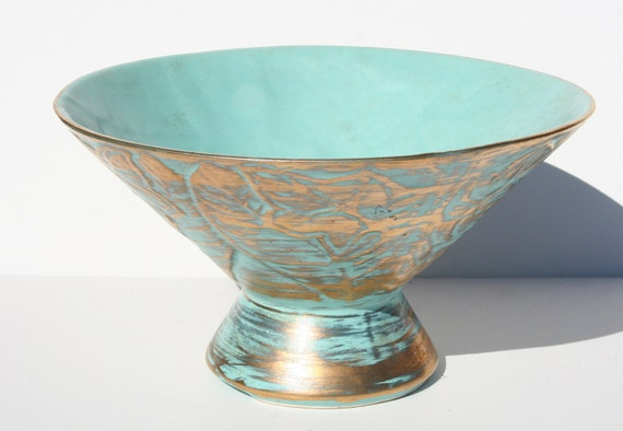 Mid Century Modern Gold and Turquoise Pottery Compote Bowl Vase