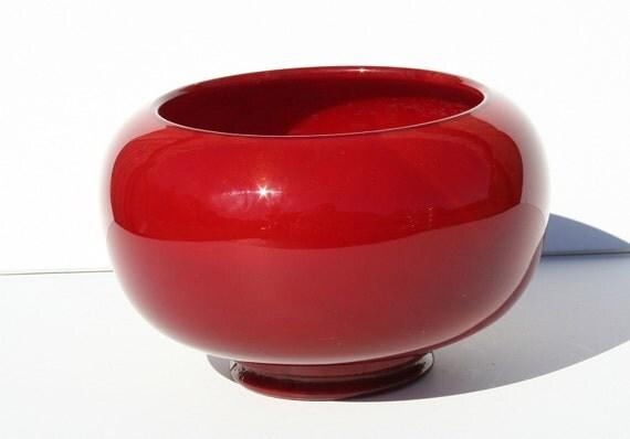 Gorgeous Vintage Fenton Mandarin Red Golden Marbling Slag Glass Bowl Planter
