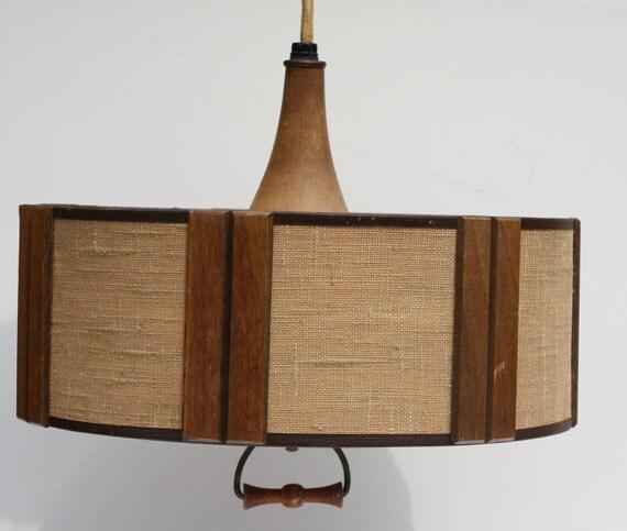 Mid Century Swag Lamp: Vintage Danish Modern Mid Century Wood And Fiberglass Swag