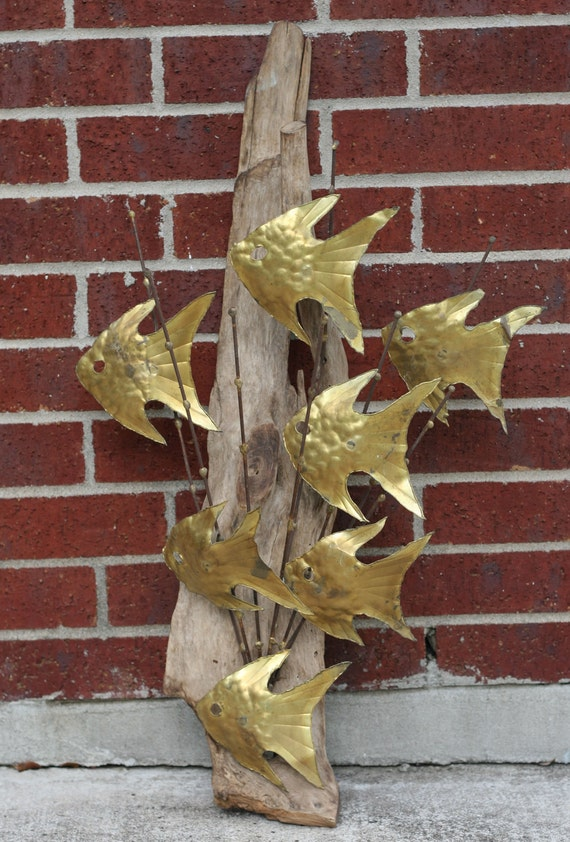 Metal Sculptures And Art Wall Decor: Vintage Mid Century Modern Metal Fish And Driftwood By