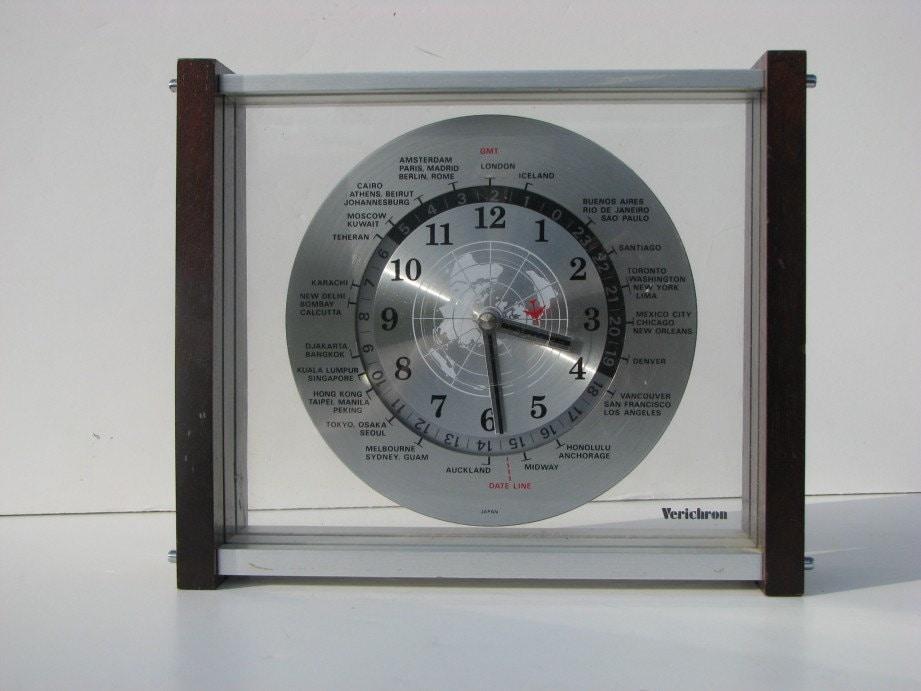 Vintage 1970 S Verichron Airplane Quartz World Time Zone
