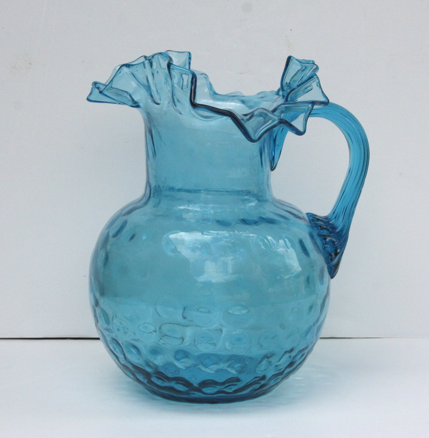 Vintage Blue Ruffled Rim Fenton Glass Pitcher
