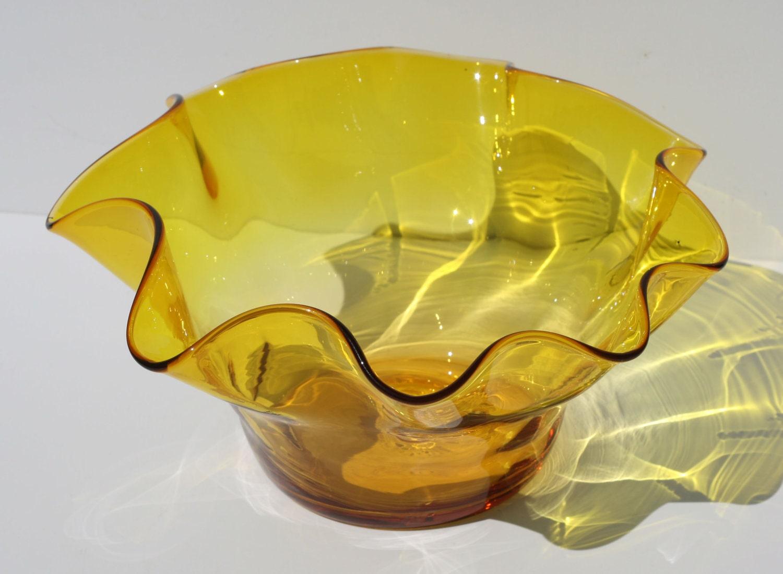 Vintage Bright Yellow Ruffled Rim Blenko Glass Bowl By
