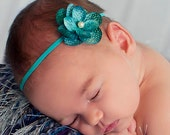 Itty Bitty Turquoise Hydrangea Flower Baby Band with Pearl