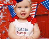 Star SPANGLED Banner---Red White & Blue Shabby Chic Bow Headband