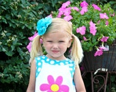 SALE--Summer Sky--Turquoise CHIFFON Fabric Flower Clip