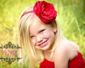 SALE---RED Ranunculus Flower Headband with Pearl Embellishment