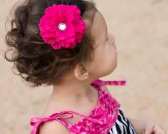 CLEARANCE--Fuchsia Pink Azalea Hair Flower with Jewel