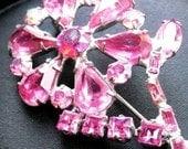 Vintage Pink Rhinestone Flower Brooch
