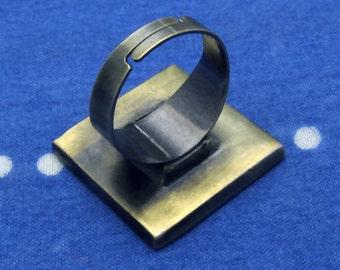 20pcs 25mm Adjustable antique bronze square Ring Blank