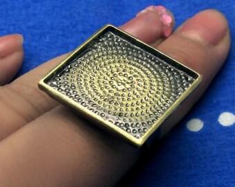 30pcs 25mm Adjustable antique bronze square Ring Blank