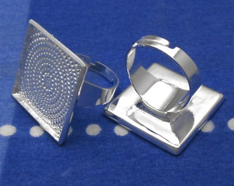 10pcs 25mm silver tone square Adjustable Ring Blank